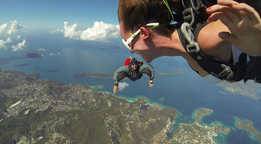 Skydiving over the USVI